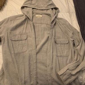 Hooded Cotton Button-Up Shirt